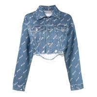 Ground Zero Cropped Distressed Print Denim Jacket - Azul