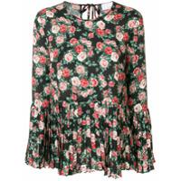 P.a.r.o.s.h. Blusa Floral Com Plissado - Preto