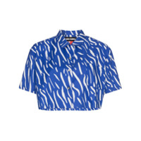 Double Rainbouu Camisa Cropped Estampada 'sound Wave' - Azul