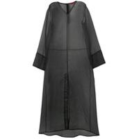 Rouge Margaux Vestido Longo Com Sobreposição De Organza - Preto