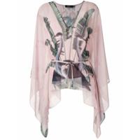 Patbo Blusa Mangas Morcego Estampada - Rosa