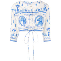 Le Sirenuse Blusa Cropped Com Estampa 'bella Deifenbach' - Branco