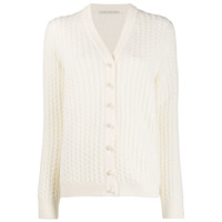 Alessandra Rich Pearl Button Cardigan - Neutro