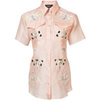 Rochas Camisa De Seda Com Bordado - Rosa