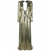 Dundas Vestido De Festa Com Paetês - Dourado