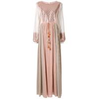 Costarellos Vestido Longo Color Block - Rosa