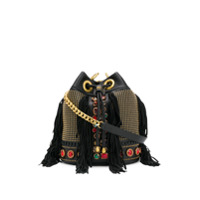 La Carrie Embellished Leather Shoulder Bag - Preto