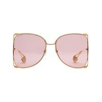 Gucci Eyewear Óculos De Sol Com Aplicação - Dourado
