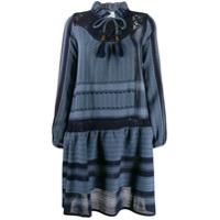 Cecilie Copenhagen Vestido Com Mix De Padronagens - Azul