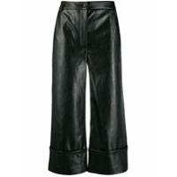 Brognano Faux-Leather Cropped Trousers - Preto