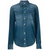 Saint Laurent Camisa Jeans Com Bolsos - Azul