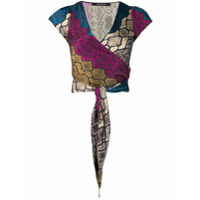 Andamane Snakeskin Print Wrap Top - Preto