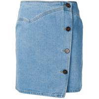 Nanushka Saia Jeans Com Abotoamento Simples - Azul