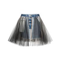Unravel Saia Jeans Com Sobreposição - Azul