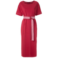 A.brand Vestido Midi Pespontado Com Cinto - Vermelho