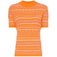 Cap Camiseta Barbara Com Estampa Listrada - Laranja