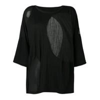 Y's Camiseta Com Recortes Translúcidos - Preto