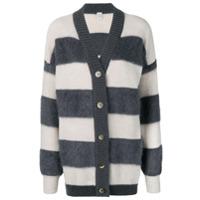 Eleventy Striped Midi Cardigan - Cinza
