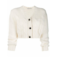 Alessandra Rich Cropped Knit Cardigan - Branco