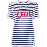 Être Cécile Camiseta Listrada Com Logo - Azul