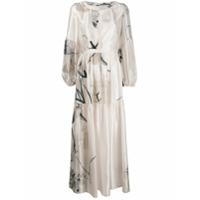 Black Coral Vestido Longo Estampado - Branco