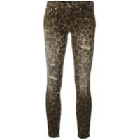 R13 Calça Jeans Skinny Estampada - Marrom