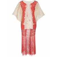 One Vintage Jaqueta Kimono De Renda Floral - Vermelho