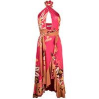 Patbo Vestido Carmen Floral Com Babados - Rosa