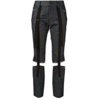 Yohji Yamamoto Calça Jeans Hang Cropped - Azul