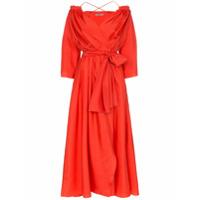 Three Graces Vestido Trespassado De Seda - Vermelho