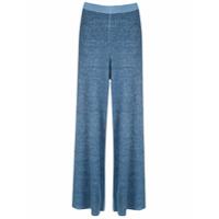Magrella Calça Pantalona De Tricô - Azul