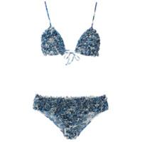 Adriana Degreas Biquíni Estampado Com Babados - Azul
