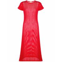 Lhd Vestido De Mesh - Vermelho