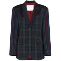 Pushbutton Check Single-Breasted Wool Blazer - Verde