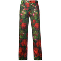 F.r.s For Restless Sleepers Calça Reta De Seda Floral - Green
