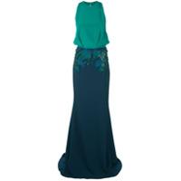 Cushnie Vestido Com Aplicação Floral - Azul