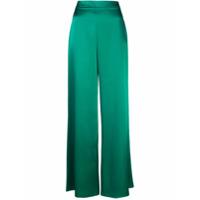 Cushnie Calça Flare De Cetim - Green
