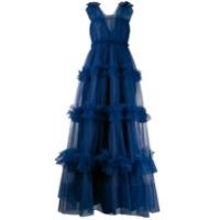 Dice Kayek Vestido De Festa Com Tule - Azul