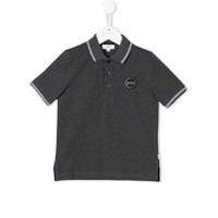 Boss Kids Camisa Polo Com Acabamento De Listras - Cinza