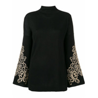 Snobby Sheep Embroidered Sleeved Sweater - Preto