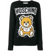 Moschino Suéter Com Estampa Do Urso Teddy - Preto