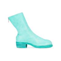 Guidi Ankle Boot De Couro Com Zíper - Verde