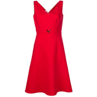 Valentino Vestido Evasê Com Decote V - Vermelho