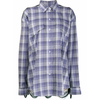 Pushbutton Contrast Check Print Shirt - Azul