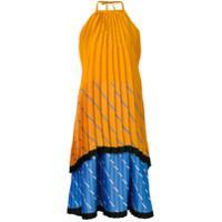 Victoria Victoria Beckham Vestido Midi Plissado Color Block - Laranja