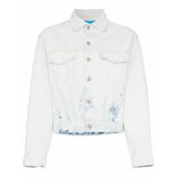 Jordache Cropped Acid Wash Denim Jacket - Azul