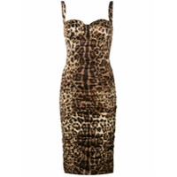 Dolce & Gabbana Vestido Midi Com Estampa De Leopardo - Neutro