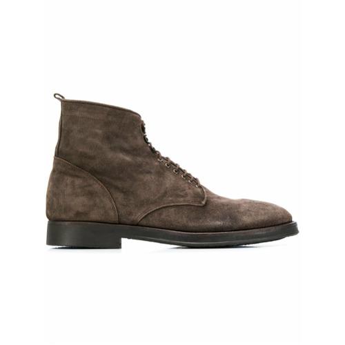 Imagem de Alberto Fasciani Ankle boot de couro com cadarço - Marrom