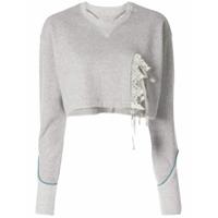 Facetasm Suéter Cropped Com Recortes De Renda - Cinza