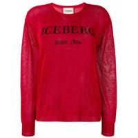 Iceberg Glitter Logo Sweater - Vermelho